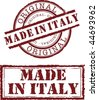 Vector made in italy stamp with red ink - stock vector
