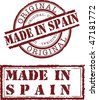 Vector made in spain stamp with red ink - stock vector