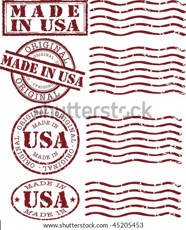 Vector made in usa stamp with red ink - stock vector