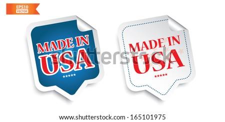 Vector: Made in USA sticker. Eps10. - stock vector