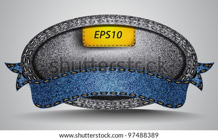 Vector made of jean fabric ribbon - stock vector