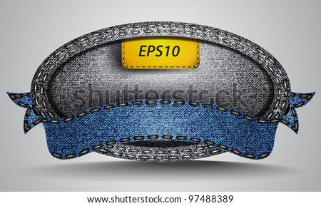 Vector made of jean fabric ribbon - stock vector
