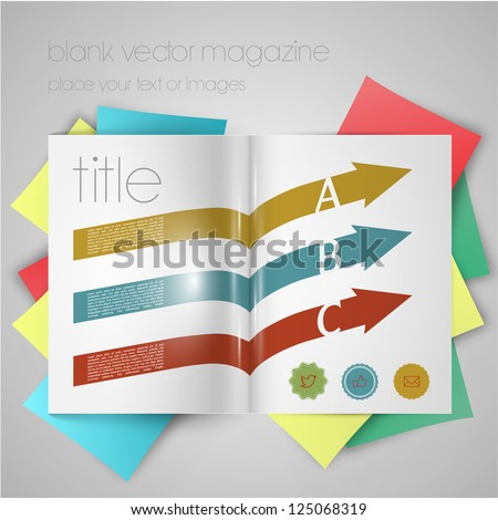 Vector magazine template with arrows and stickers - stock vector