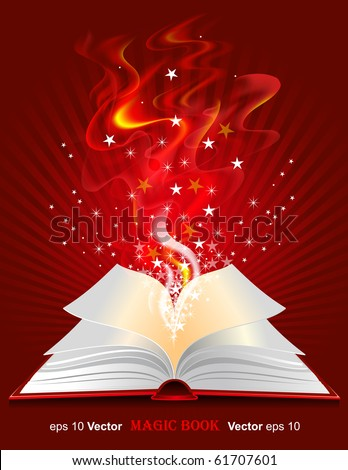 Vector magic book on red background