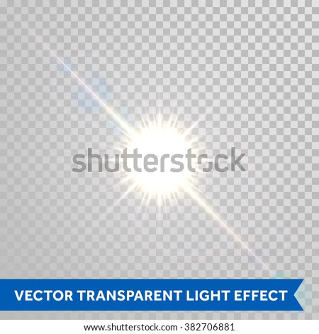 Vector magic sunlight glare effect. Sunshine sparks with lens flare radiant light. Bright glowing light flash isolated on transparent background - stock vector