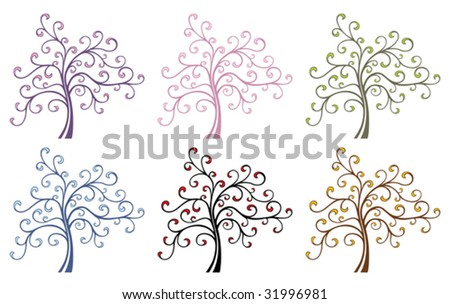 Vector Magic Tree in different color variations.