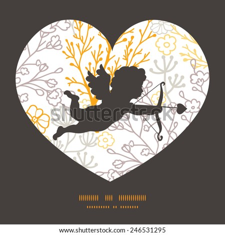 Vector magical floral shooting cupid silhouette frame pattern invitation greeting card template - stock vector