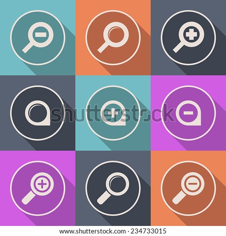 Vector magnifier glass and zoom Icon search lupe - stock vector