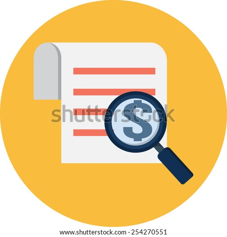 Vector Magnifying Glass and Receipt Flat Illustration  - stock vector