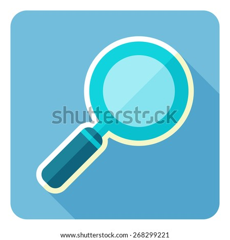 Vector magnifying glass. Flat design icon. - stock vector
