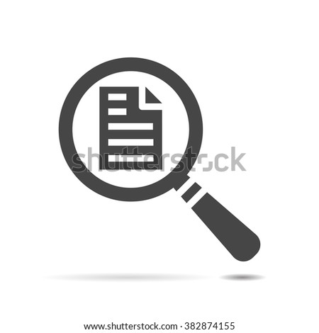 vector magnifying glass with black page icon on a white background - stock vector
