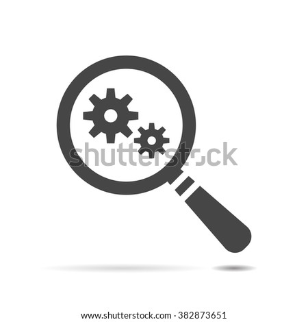 vector magnifying glass with Flat design style gears icon - stock vector