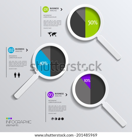 Vector magnifying glasses showing business pies. - stock vector