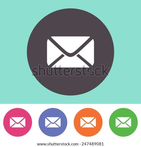 Vector mail envelope icon on round colorful buttons
