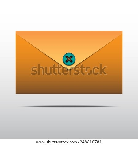 Vector mail envelope with button - stock vector