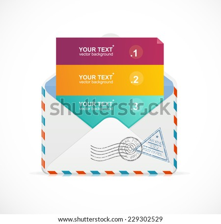 Vector mail postcard menu with 3 choices 123. For web usage or your business presentation. - stock vector