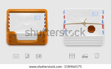 vector mailbox and envelops icons xxl - stock vector