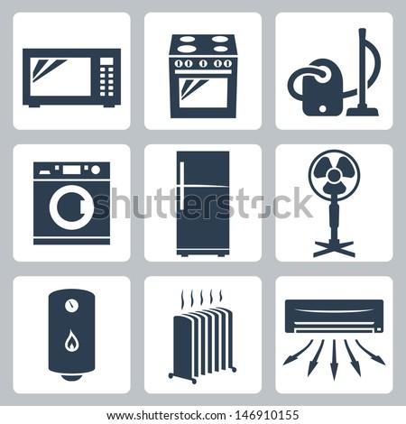 Vector major appliances icons set - stock vector