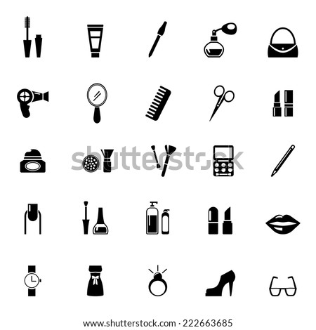 vector make up and beauty icons black on white - stock vector