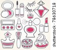 Vector make up, beauty and fashion supplies icons - stock vector