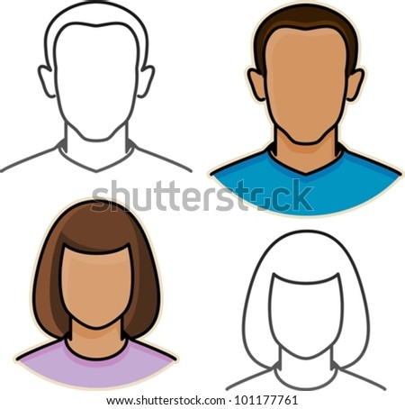 vector male and female avatar icons - stock vector