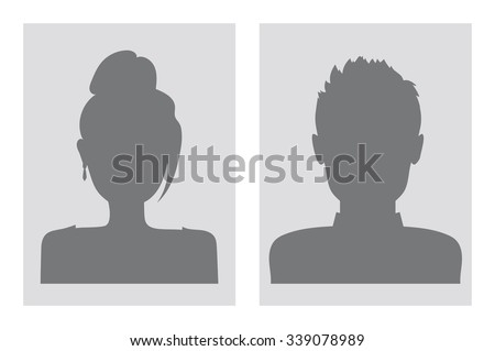Vector male and female avatars. Gray silhouettes. - stock vector