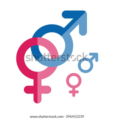 Vector male and female icons. Gender symbols. Flat style vector illustration - stock vector