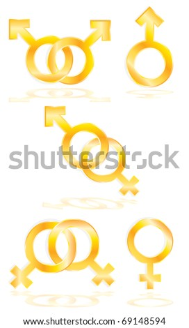 Vector Male and Female symbols - stock vector