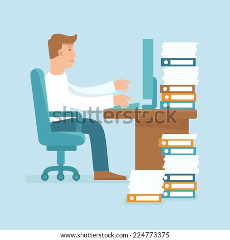 Vector male character in flat style working hard at the computer - stock vector