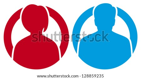 vector male female avatar icons - stock vector