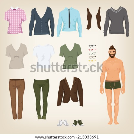 Vector male hipster dress up paper doll with an assortment of clothes - stock vector