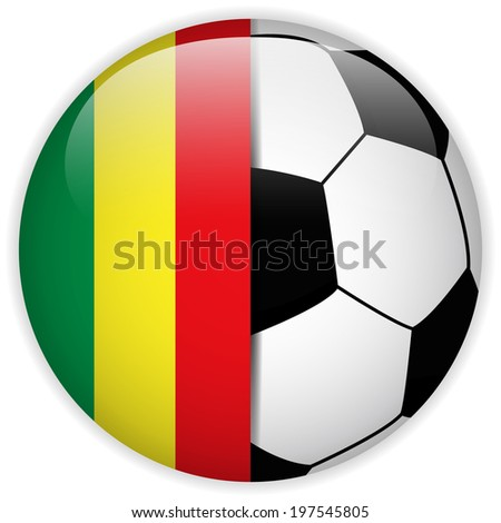 Vector - Mali Flag with Soccer Ball Background - stock vector