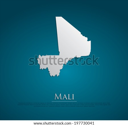 vector Mali Map card paper on blue background, high detailed - stock vector