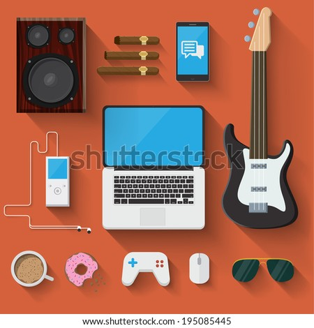 Vector man accessories ans objects - stock vector