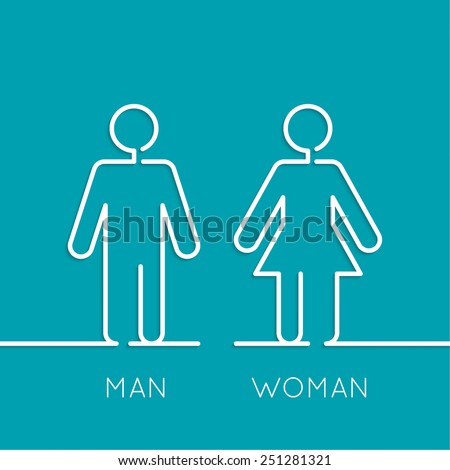 Vector man and woman icons, toilet sign, restroom icon, minimal style, pictogram. minimal. Outline - stock vector