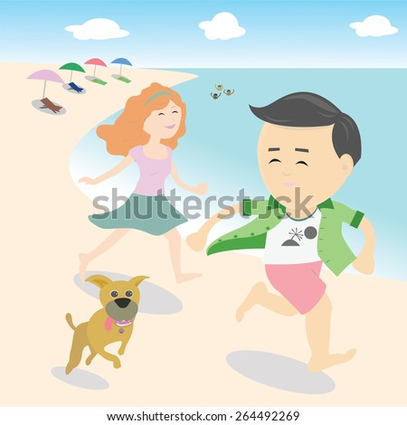 Vector Man and woman running on the beach with a dog. - stock vector