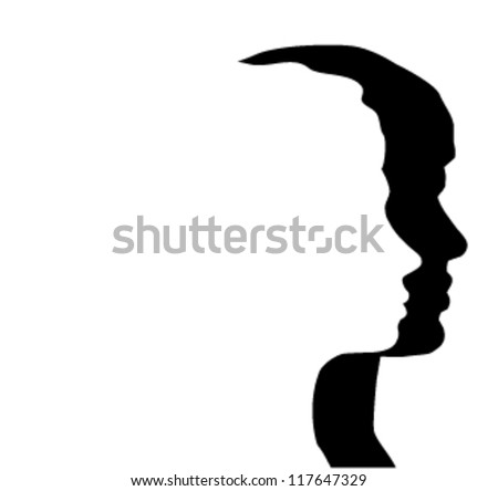 vector man and woman silhouette - stock vector