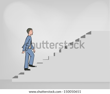 Vector Man climbing the simple gray stairs