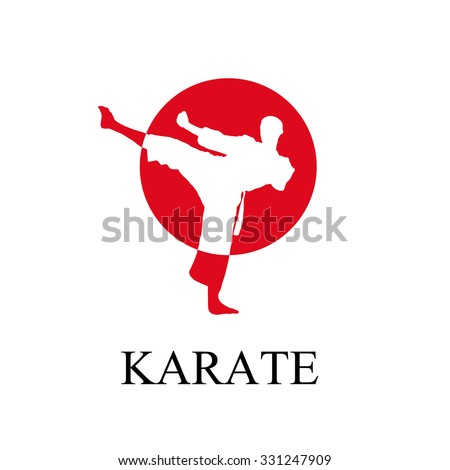 Vector man doing karate - stock vector
