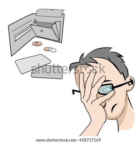 Vector man facepalm comic illustration, Financial crisis. empty purse  vector illustration. - stock vector