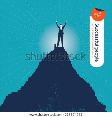 Vector man on top of the hill. Vector illustration Eps10 file. Global colors. Text and Texture in separate layers. - stock vector
