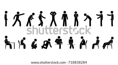 Vector man stick figure person pictogram 718838284 - Dessin bonhomme assis ...