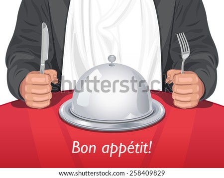 Vector Man with Cutlery with Cloche Dome on the Table in front of Him  - stock vector