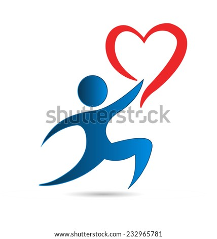 Vector man with heart icon conceptual design picture background - stock vector