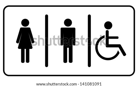Vector Man, Woman and invalid one, restroom \ toilette symbol - stock vector