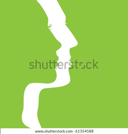 Vector Man & Woman icon over green background - stock vector
