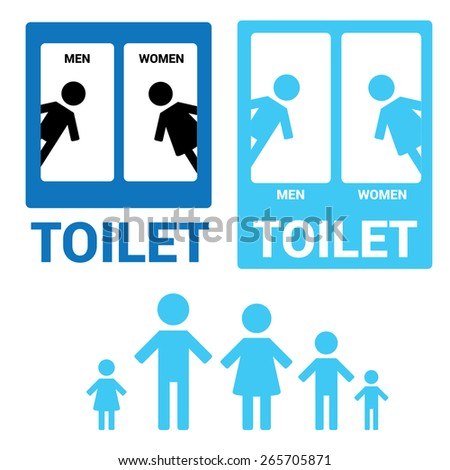Vector Man & Woman restroom sign. Blue Square Toilet Sign with Toilet, Men and Women text - stock vector