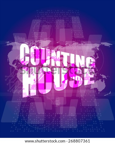 vector Management concept: counting house words on digital screen - stock vector
