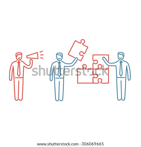 Vector management skills icon of one manager and two businessman building puzzle | modern flat design soft skills linear illustration and infographic red and blue on white background