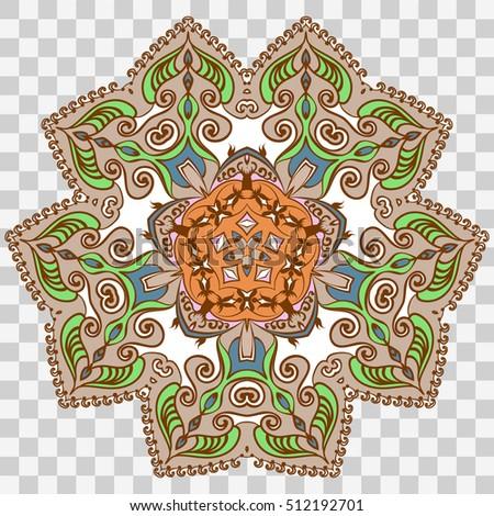 Vector Mandala Isolated On Transparent Background Islam Arabic Indian Ottoman Motifs